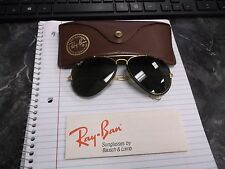Vintage B&L USA Ray Ban 58[]14 Aviator Leathers Sunglasses With Case & Paperwork