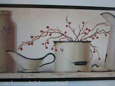 Antique Enamelware Wall Decor Plaque Kitchen blue white country style picture