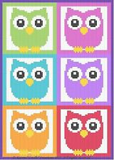 Crochet Patterns - OWLS & MORE OWLS! Color Graph Afghan Pattern SCRAP YARN