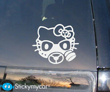 Hello Kitty Gas Mask Decal Sticker Revolution AK47 gun bad funny car truck