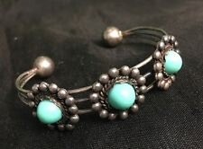 Mexico Native Alpaca Silver Cuff Bracelet Mexican Turquoise-Colored Cabs