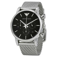 Emporio Armani Classic Watch Black / Silver Stainless Steel Analog Quartz Men's