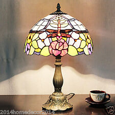 Red Dragonfly Tiffany Flowers Floral Styled Table Lamp 2 Lights Stained Glass
