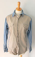 Vtg 80s Wrangler Cotton khaki denim Western button down Shirt men XS cowboy F7
