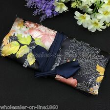 SILK JEWELRY TRAVEL BAG Roll Case Pouch Carrying Jacquard Flowers Black