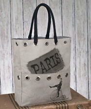 Paris Bicycle Stonewashed Canvas Tote Bag Stone Color & Black Wholesale Lot of 6