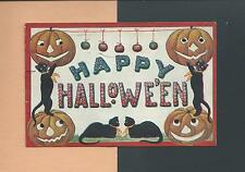 Spooky & Cute BLACK CATS, JOLs On Colorful Vintage 1908 HALLOWEEN Postcard