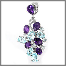 GENUINE SKY BLUE TOPAZ & PURPLE AMETHYST MIXED SHAPE STERLING 925 SILVER PENDANT