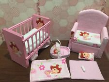 Barbie Baby Nursery Set Furniture Crib,Sofa ,Carrier.Strawberry Shortcake