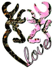 20 water slide nail art transfer Mossy Oak pink, green double heart love decals