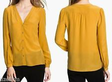 NWT Tory Burch Jayden Silk Blouse in Golden Rod Size 12