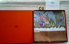 Authentic HERMES COLS VERTS 100% Silk Brown & Multi-Color Scarf 90x90 In Box