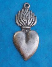 Tin/Silver Sacred Heart w. Tall Flames Milagro Ex Voto