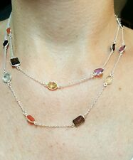 Blue topaz Amethyst Garnet Citrine silver bezel gemstone by the yard necklace