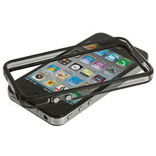 Black-Clear Bumper Frame TPU Silicone Case for iPhone 4S CDMA  W/Side Button-New