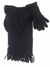 Women Lady 3 Pcs Winter Knit Gift Set Beanies Scarf and Gloves Cuff Ski Hat