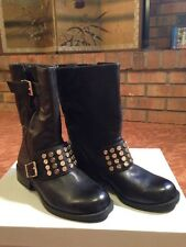 NEW-JESSICA SIMPSON SKYLARE BLACK LEATHER GOLD STUD ANKLE BOOTS 5