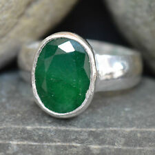 Natural Emerald 5 Ct Sterling Silver Ring For Men & Women in ALL SIZES