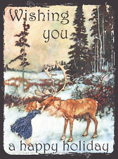 Wishing You a Happy Holiday Metal Sign,Girl Kissing Reindeer, Snowy Pine Forest