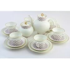 Russian Imperial Lomonosov Porcelain Tea set Rose blues 6/20 persons grid net