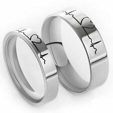 High quality couple ring ECG rings Free Engraving Titanium wedding ring silver.