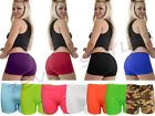 LADIES NEON PLAIN HOT PANTS SHORTS STRETCHY DANCE GYM CLUB WEAR PARTY SIZE 8-14