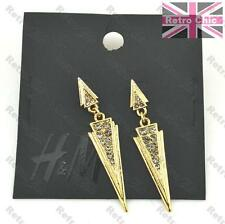 H&M GEOMETRIC crystal ARROW EARRINGS rhinestone GOLD PLATED triangle arrows