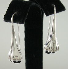 "925 sterling silver small size scalloped teardrop earrings 1 1/8"" high"