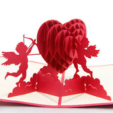 3D Pop Up Greeting Card Cupid & Heart Happy Valentine's Day Anniversary Birthday