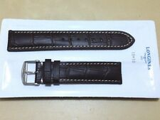 NEW GENUINE LONGINES 19mm BROWN ALLIGATOR LEATHER GRAIN WATCH STRAP OEM 19/18MM