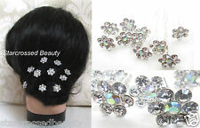 10 Silver Diamante Daisy Flower Hair Pins Bridal Wedding Prom Clip Floral h36