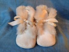 vintage Leather & Rabbit Fur Baby Booties Shoes Boots Sweet, Warm, Adorable!
