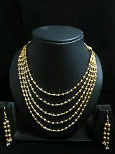 One Gram Gold Plated 5 line Balls chain / Long Necklace/Mohan Maala