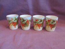 Set-4 Vienna Austria Porcelain Cups Grape Clusters & Leaves Gold Rim