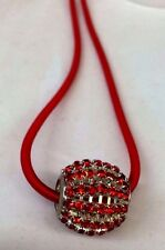 Single Big Rhinestone bead Cord Pendant Necklace