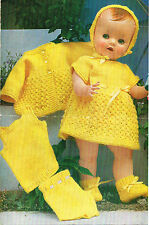 "Dolls  clothes knitting pattern.16- and 20"" doll.  Laminated copy. (V Doll 01)"