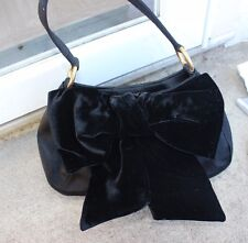 Yves Saint Laurent YSL Black Satin Evening Handle Bag Velvet Bow Gold Hardware