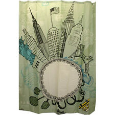 funky city NEW YORK FABRIC SHOWER CURTAIN Empire state bldg . statue of liberty
