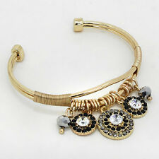 HOT Gold Black Ring Crystal Cuff Bangle Charm Bracelet By Rocks Boutique