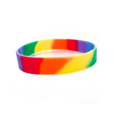 Rainbow Dip Silicone Bracelet Wristlet LGBT Wristband - Lesbian Gay Pride Flag