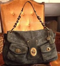 Coach 11136 Legacy ✨ RARE Teal Suede Signature Leather Turnlock Chain Hobo $598