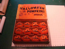 original Box of 12 HALLOWEEN PUMPKINS by NOMA plastic pumpkins w witch back WOW