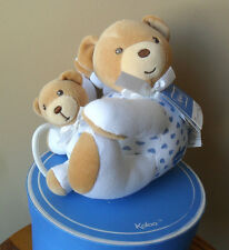 Kaloo Bear Blue Musical Pull in Box NEW!! White Blue Hearts Momma and Baby