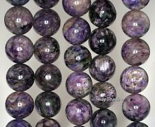 15MM-16MM CHARA RIVER CHAROITE GEMSTONE A  PURPLE ROUND LOOSE BEADS 16""