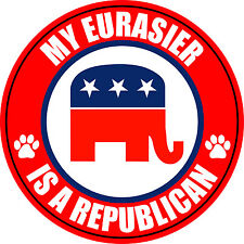 "My Eurasier Is A Republican Dog 5"" Sticker Decal"