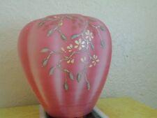1992 Fenton Vase Rosaline Satin Twining Floral Connoisseur Collection LE 500/950