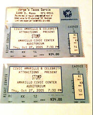 STOMP TICKET STUBS OCTOBER 27-2005-AMARILLO Cocoa-Cola logo on the back of one