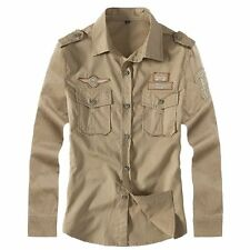 New Fashion Cool Men's Military Style Casual Shirts Air Force Uniform Shirts