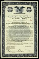 Stock Certificate Pennsylvania & New York Canal Railroad 5% Loan Of $10,000,000