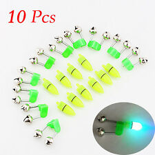 10PCS LED Night Fishing Rod Bite Bait Alarm Light Twin Bells Clip Alerter NEW FS